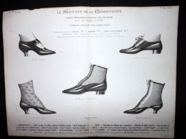 Le Moniteur de la Cordonnerie 1890 Rare Antique Shoe Design Print 24